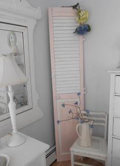 I want this Shabby chic shutter furniture for the patio. Antique Furniture, Painted Furniture, Old Shutters, Girl Room, Outdoor Living, Room Ideas, Shabby Chic, Patio, Babies