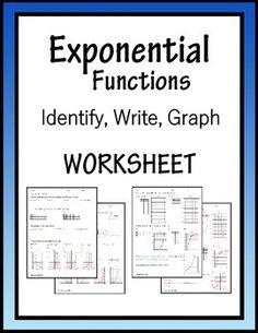 Graphing Exponential Functions ALGEBRA Worksheet | Algebra ...