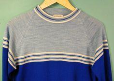 men's striped sweater . MOD Blue tone ombre . retro 60s 70s by BeAtSaNdBoHoS on Etsy