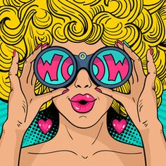 Sexy surprised woman with blonde curly hair and open mouth holding binoculars in her hands with inscription wow in reflection. Vector background in pop art retro comic style.: comprar este vector de stock y explorar vectores similares en Pop Art Images, Free Images, Pop Art Vintage, Pop Art Face, Tableau Pop Art, Pop Art Tattoos, Pop Art Women, Pop Art Wallpaper, Pop Art Girl