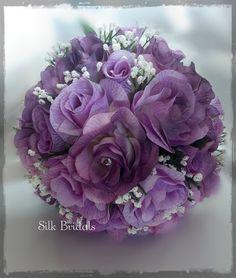 LAVENDER Bridal BOUQUET Silk Roses Bride Bridesmaid flowers by SilkBridals