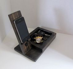 Iphone Dock with Valet Tray by ImproveResults on Etsy https://www.etsy.com/listing/210342513/iphone-dock-with-valet-tray