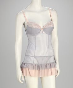 Gray Sheer Illusion Chemise & G-String