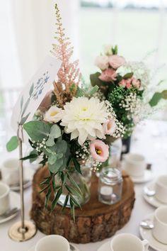 Centrepiece Flowers Jars Candles Log Pink White Simple Natural Honest Marquee Wedding https://www.gemmagiorgio.com/
