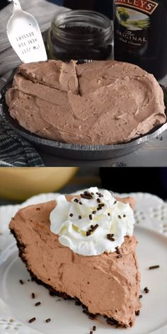 This No Bake Baileys Chocolate Pie is only a few ingredients and oh so delicious! The perfect easy dessert! This No Bake Baileys Chocolate Pie is only a few ingredients and oh so delicious! The perfect easy dessert! No Bake Desserts, Easy Desserts, Delicious Desserts, Yummy Food, Easy Few Ingredient Desserts, Irish Desserts, Unique Desserts, Baking Desserts, Chocolate Pies