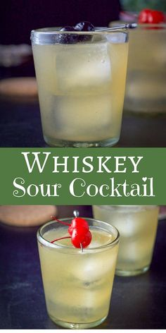This whiskey sour cocktail refreshing, tasty and easy to make! It only has three ingredients which makes it perfect to serve at your next party! via This delicious whiskey sour is so easy to make and very satisfying! Enjoy it at your next party! Sour Cocktail, Cocktail Drinks, Cocktail Recipes, Vodka Cocktails, Good Cocktails, Virgin Cocktails, Margarita Recipes, Classic Cocktails, Recipes Dinner