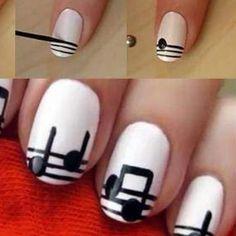 Nail Art Notas musicales nail art