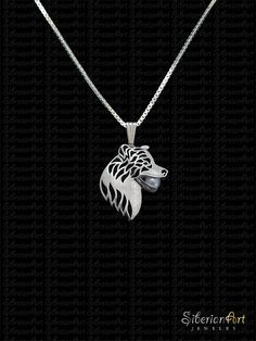 An marvelous 3D Border Collie pendant & necklace, designed by Amit Eshel. Its a big pendant, very elegant and adds glamorous to the appearance of anyone who wears it! ------------------------------------ Size: the pendant measures approx. 26.5 x 30 mm (1.05 x 1.2 inches) and 5 mm Thick (0.2 inches). Chain measures 17.7 inches (45 cm). ------------------------------------ Pendant is made of sterling silver. 5 mm diameter cultured pearl Sterling silver chain. -------------------------------...