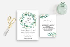 Wedding invitation eucalyptus nature leaves by MomentiDesignStudio