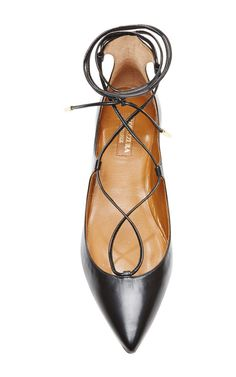 Christy Leather Pointed-Toe Flats by Aquazzura - Moda Operandi