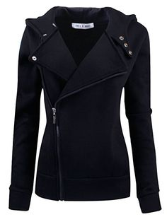 Tom's Ware Women Slim fit Zip-up Hoodie Jacket TWHD1003-BLACK-L