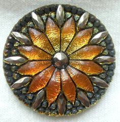 LG Czech Glass Button  Sunset YellowOrange Mirror by ButtonOdyssey,