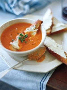 Tomato Soup with Goat Cheese Crostini