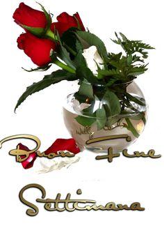 Buon fine settimana con rose rosse