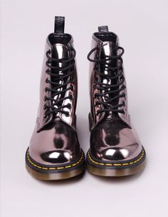 Dr Martin Dr Martens Stiefel, Metallic Boots, Silver Boots, Metallic  Leather, Patent 667b7827d7ea