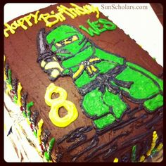 Lego Ninjago Birthday Cake - This looks complicated, but trust me... there is a SUPER simple way to create impressive cakes like this, and I think anyone can pull it off.  Links to a great tutorial... nothing fancy!  My son and his friends were so impressed with this cake!  I can't wait to try this technique again!