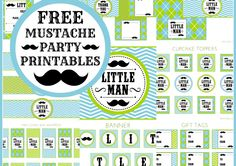 Free Set of Little Man Mustache Printables