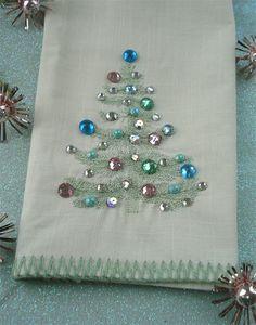 Pretty Christmas tea towel