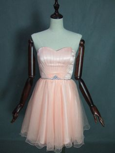 Peach strapless sweetheart beading sash knee-length dress