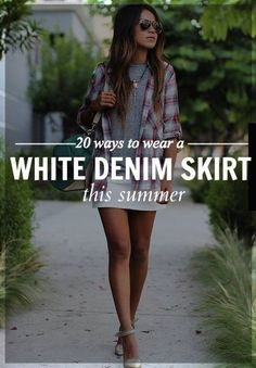 Perfect ways to wear the classic white denim skirt.