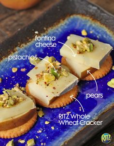 Top a RITZ Whole Wheat cracker with pears, fontina cheese, and pistachios for a tasteful fall appetizer. Sometimes simple is better! See more RITZ recipes on our Pinterest page.