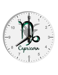 """Capricorn Symbol 8"""" Round Wall Clock with Numbers"""