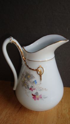 HAVILAND LIMOGES PORCELAIN PITCHER CREAMER CABLE  DESIGN WITH WILD FLOWERS #HavilandLimoges