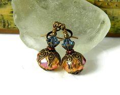 Pink Earrrings Aquamarine Swarovski Crystal by MsBsDesigns on Etsy, $26.00