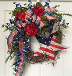 This patriotic wreath could be hung in honor of Memorial Day, 4th of July, or Labor Day.