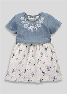 Girls Floral Lace Denim Dress (3mths-5yrs)