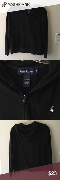 Ralph Lauren velour hoodie S In normal used condition, thin velour hoodie in basic color and very useful, zipper plate is peeling and the left calf is damaged a little as seen in the pictures, some fades Ralph Lauren Tops Sweatshirts & Hoodies
