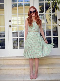 (Dress: Louche 'Leigh' dress (last year) Uk Fashion, Modest Fashion, Retro Fashion, Fashion Dresses, Vintage Fashion, Dress Skirt, Dress Up, Dot Dress, Pretty Outfits