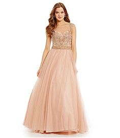 Glamour by Terani Couture Illusion Yoke Beaded Ball Gown #Dillards