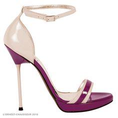 Raspberry and beige patent leather platform sandal, ankle strap, platform 1.5 cm  Heel 13 cm