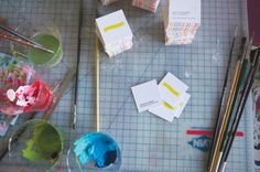 business cards; adding a final artistic and fun touch!  How to Edge Paint |Oh Happy Day