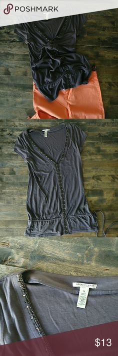 Abercrombie and Fitch Top Dark gray dressy top with metal detailing and a cinched waist. Very cute for any occasion, can be dressed up or down. Excellent condition, size medium Abercrombie & Fitch Tops Tees - Short Sleeve