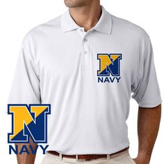 Officially Licensed U.S. Navy N Performance Polo Shirt now available! Grab a unique Navy Service Performance Polo Shirt today. These good looking polos will keep you cool as they are performance wicking, stain-resistant & offer UV Protection. Designed, Printed & Sublimated in the USA -Fabric Imported.
