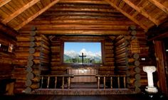 Inside Chapel of the Transfiguration at Grand Tetons Mountains, WY. So peaceful and beautiful!