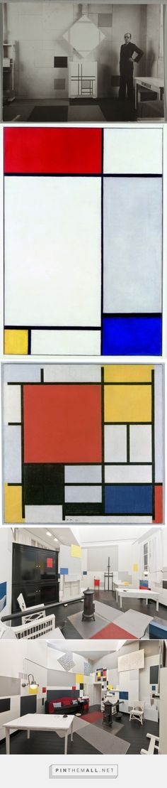 """Mondrian Turned His Studios into Giant Abstract Paintings Reconstruction of Mondrian's studio at 26 Rue du Départ, Paris, which was on display in """"Mondrian and his Studios"""" at Tate Liverpool from 6 June - 5 October 2014. © Tate Photography, David Lambert & Rod Tidnam. Courtesy of Tate. - created via https://pinthemall.net"""