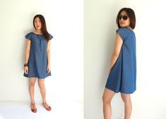 Free Japanese Sewing Pattern with Translations: Denim Smock Dress at www.sewinlove.com.au
