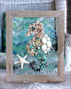 #Sea Glass, #Glass Art, #Beach Decor, #Beach Glass Art, #Wave Art, #SeasideCreations1, #Robin Ingles, #Ocean Art, #Coastal Decor, #Wall Hanging, #Seahorse, #Sea Horse