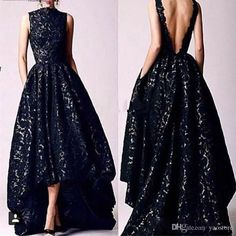 2017 Arabic High Low Black Lace Sequined Prom Party Dresses Vintage High Neck Sexy Backless Formal Occasion Evening Gowns Black Lace Sequined Prom Dresses 2017 Arabic Pleated Party Dresses Vintage High Neck Formal Evening Gowns Online with $135.55/Piece on Yaostore's Store | DHgate.com
