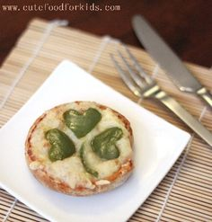 English Muffin pizzas with shamrocks made from green peppers