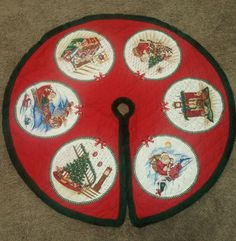 Quilted Christmas Tree Skirt - Size 34 inch Diameter - Red with Picture Circles & Green Fringe Trim  ..... Visit all of our online locations..... www.stores.eBay.com/variety-on-a-budget ..... www.amazon.com/shops/Variety-on-a-Budget ..... www.etsy.com/shop/VarietyonaBudget ..... www.bonanza.com/booths/VarietyonaBudget ..... www.facebook.com/VarietyonaBudgetOnlineShopping      http://www.stores.ebay.com/variety-on-a-budget