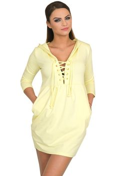 Women's Tunic Dress 3/4 Sleeve Top Ladies Dress Hoodie Jumper Pockets 6 8 10