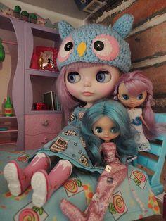 Blythe doll. petite blythe. dollhouse. miniatures. petite blythe. blythes. dolls. owl.