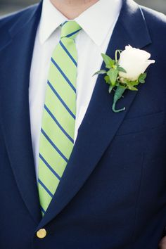 Navy and green...Photography by robertandkathleen.com  Read more - http://www.stylemepretty.com/2013/06/18/larchmont-yacht-club-wedding-from-robert-kathleen-photographers/