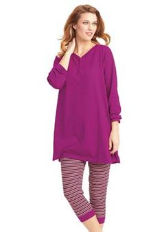 4184342edc08a2 Floral Silhouette Pajama Set - Women's Clothing, Jewelry, Fashion ...