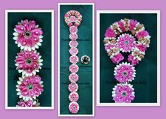Artificial jada billlalu made with artificial jasmine buds ,pink satin ribbon flowers, pearls and kundan applique.