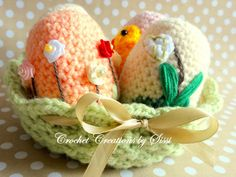 This item is unavailable Crochet Decoration, Easter Crochet, Photo Tutorial, Easter Baskets, Make Your Own, Etsy Store, Easter Eggs, Dinosaur Stuffed Animal, Crochet Patterns